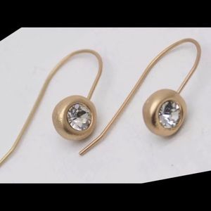 BRILLIANT ROUND CRYSTAL GOLD DANGLE DROP EARRINGS